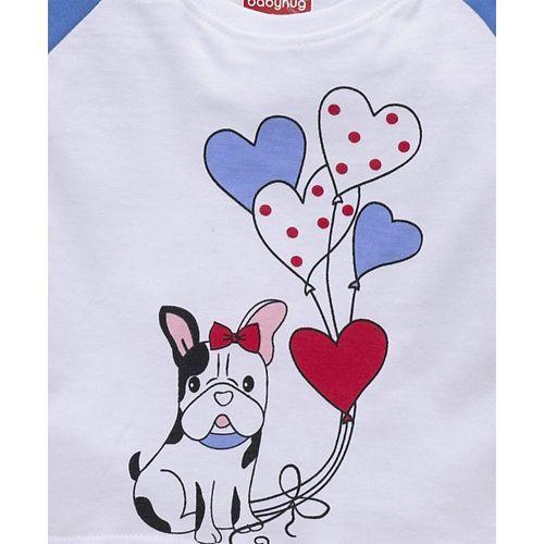 Babyhug Full Sleeves Tee Puppy Print - White Blue