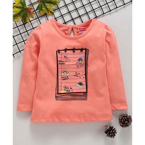 Babyhug Full Sleeves Knitted Tee Notepad Applique - Orange