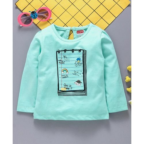 Babyhug Full Sleeves Knitted Tee Notepad Applique - Mint Green
