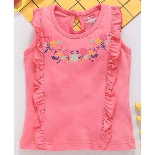 Babyhug Sleeveless Printed Tee With Frills - Peach
