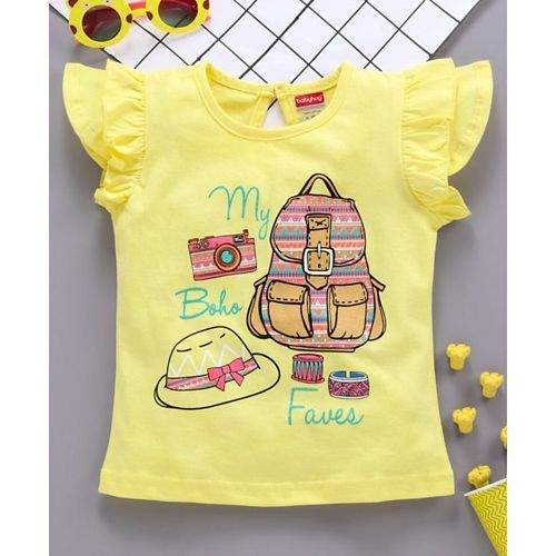 Babyhug Cap Sleeves Tee With Frills Boho Print - Yellow