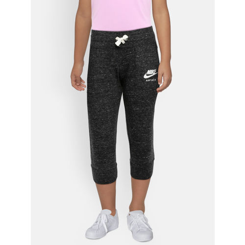 Nike Girls Black Solid NSW VNTG Regular Fit Capris