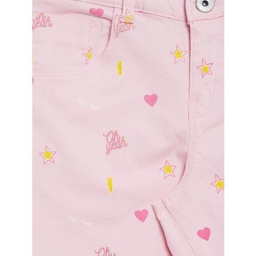 Palm Tree Girls Pink & Yellow Printed Regular Fit Capris