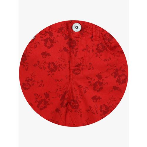 Palm Tree Girls Red Printed Regular Fit Capris