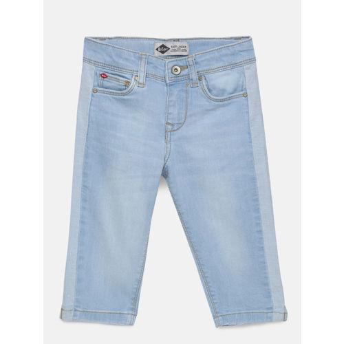 Lee Cooper Girls Denim Blue Solid Regular Fit Denim Capris