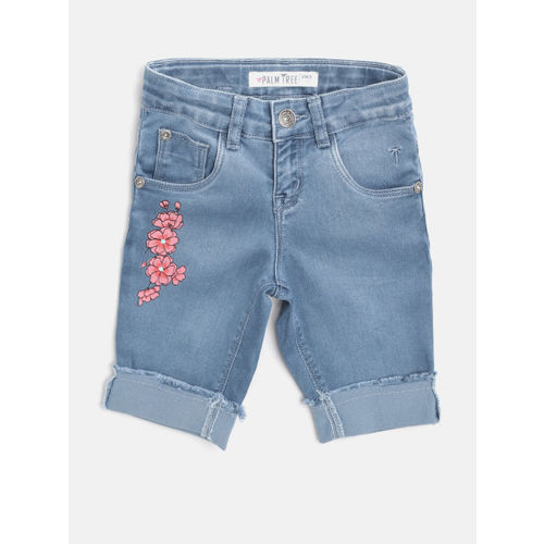 Palm Tree Girls Blue Washed Relaxed Fit Capris