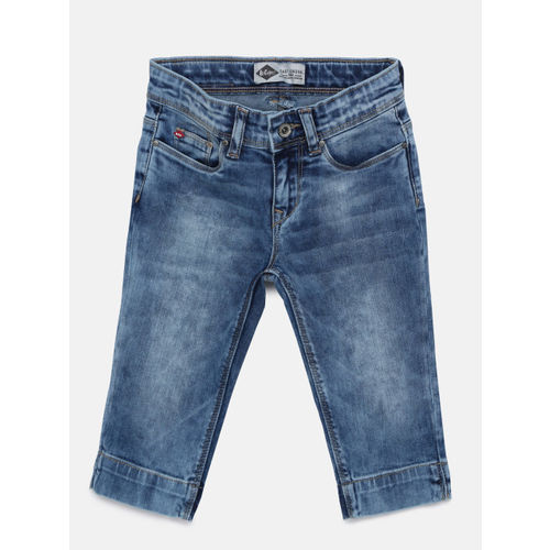 Lee Cooper Girls Blue Solid Regular Fit Capris