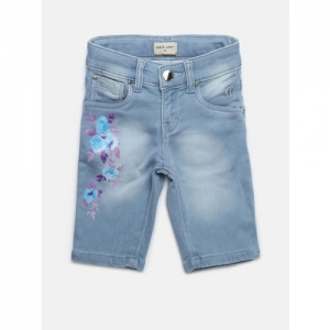 Gini and Jony Girls Blue Washed Regular Fit Denim Capris