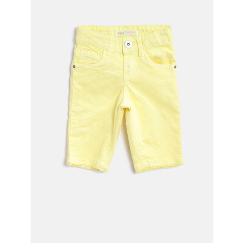 Palm Tree Girls Yellow Embroidered Regular Fit Capris