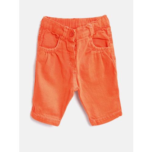 Little Kangaroos Girls Orange Solid Regular Fit Capris