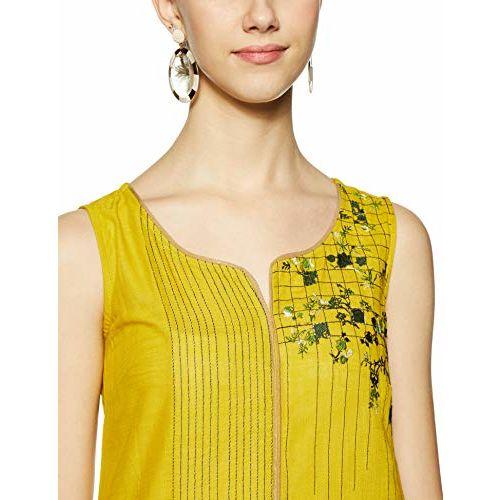 AURELIA Women Mustard Yellow & Green Embroidered Straight Kurta