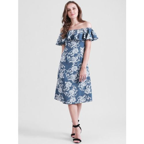 Zink London Blue Floral Print Below Knee Dress