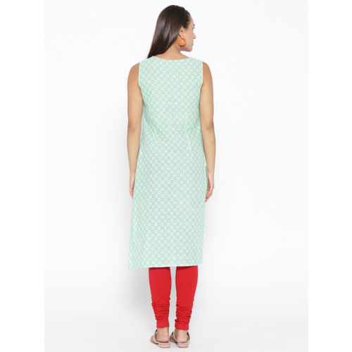 AURELIA Women Green Printed Straight Kurta