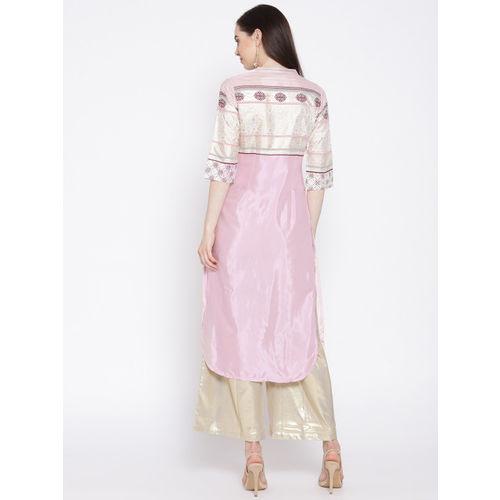 AURELIA Women Pink & White Printed Straight Kurta