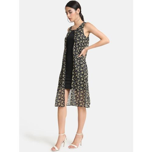 Kazo Black Printed Below Knee Dress