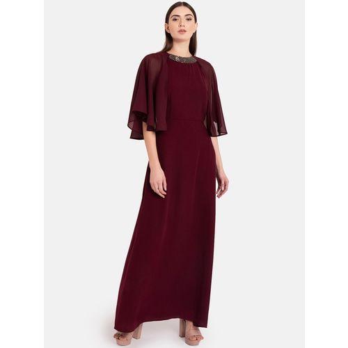 Kazo Maroon Embellished Maxi Dress