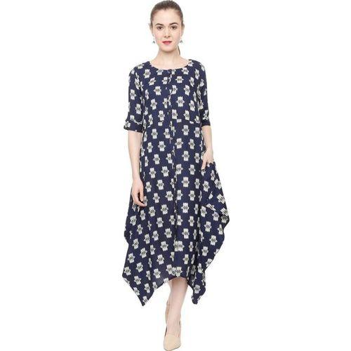 People Navy & White Printed Below Knee Dress