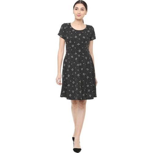 Solly by Allen Solly Black  Printed Above Knee Dress