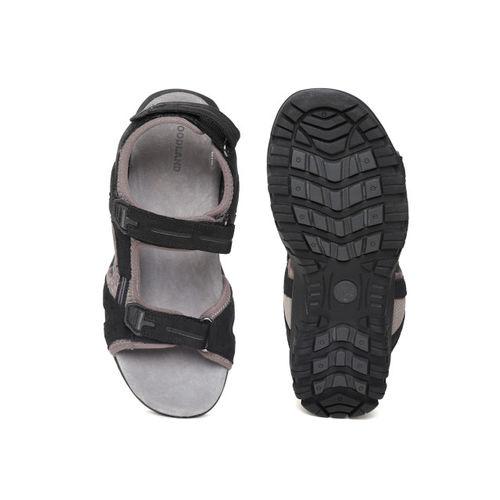 Woodland Men Black Leather Comfort Sandals