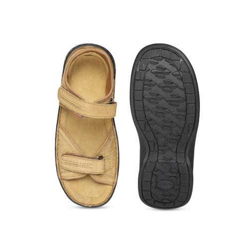 Woodland Men Camel Brown Nubuck Leather Comfort Sandals