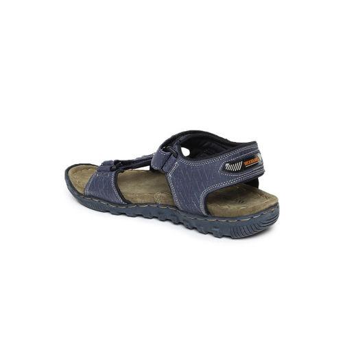 Woodland Men Blue Leather Sandals