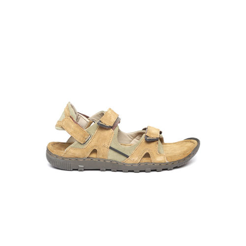 Woodland Men Camel Brown & Olive Green Suede Comfort Sandals