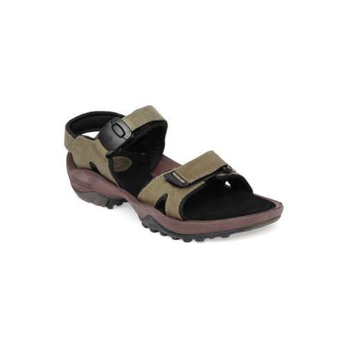 Woodland Men Khaki & Black Leather Sports Sandals