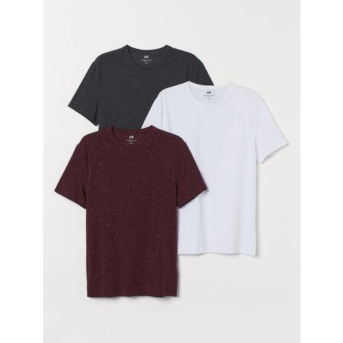 H&M Men Solid 3-Pack T-shirts Slim Fit