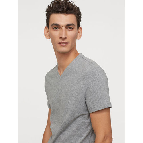 H&M Men Solid 3-Pack T-shirts Slim Fit