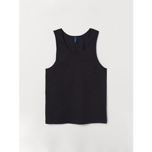 H&M Men Black Solid Vest Top with a Chest Pocket