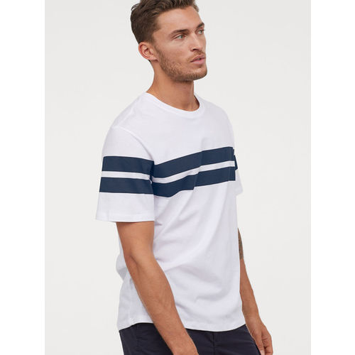 H&M Men White and Blue Printed T-shirt