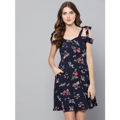 Street 9 Navy Printed Dress