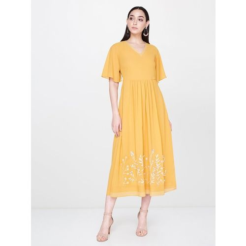 AND Yellow Embroidered Dress