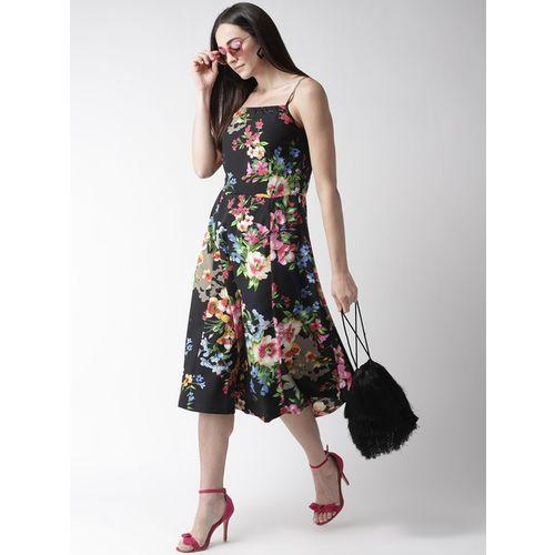 PlusS Black Floral Print Below Knee Dress