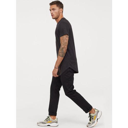 H&M Men Black Solid Long T-shirt