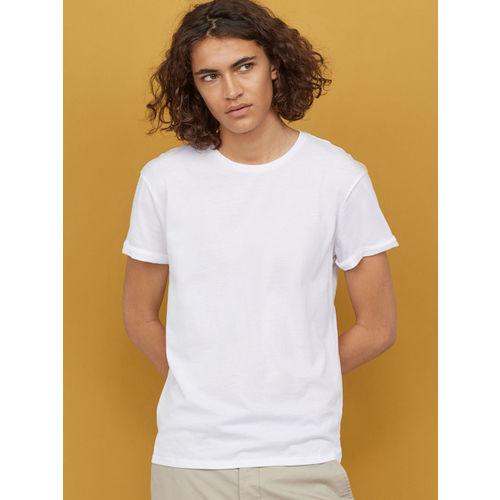H&M Men White Solid Cotton T-shirt