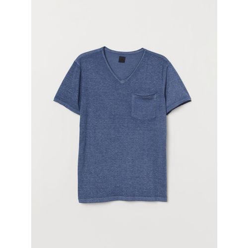 H&M Men Blue Solid Raw-edge T-shirt