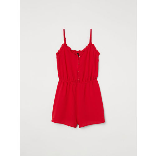 H&M Women Red Frill-Trimmed Playsuit