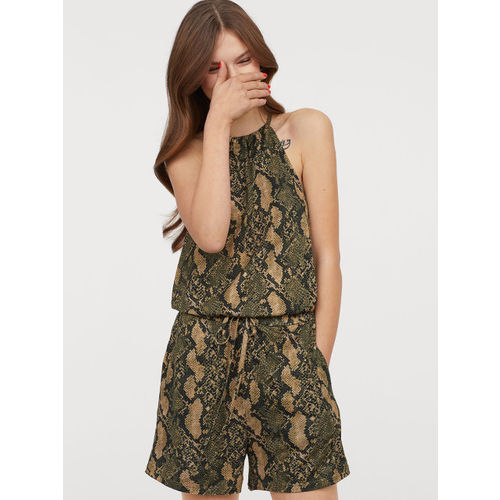 H&M Women Green Printed Patterned Playsuit
