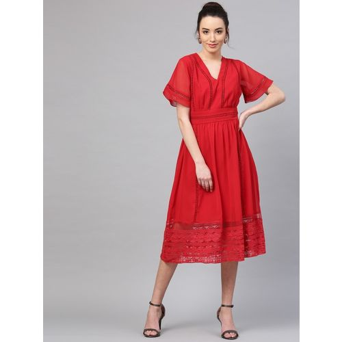 Athena Women Fit and Flare Red Dress