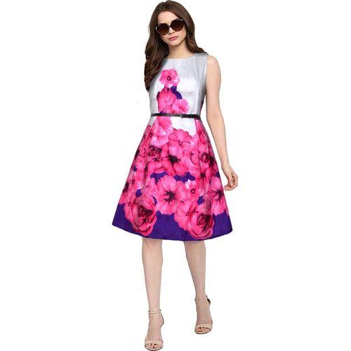 Samvegi Creation Women Fit and Flare Pink Dress