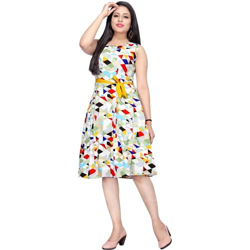 Micozy Multicolor Geomatric Printed A-line Flared Dress