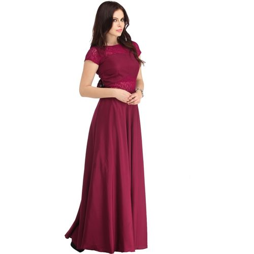 Raas Pret Women Gown Maroon Dress