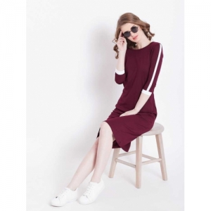 The Dry State Maroon Solid Sheath Dress