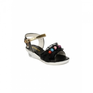 Kittens Black Synthetic Solid Sandals