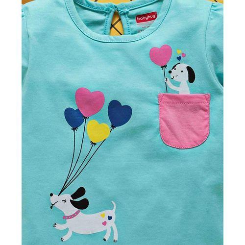 Babyhug Short Sleeves Tee Puppy Print - Mint