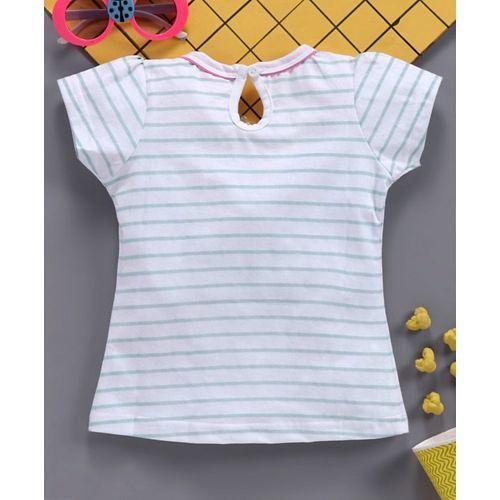 Babyhug Half Sleeves Tee Graphic Print - Blue Stripe