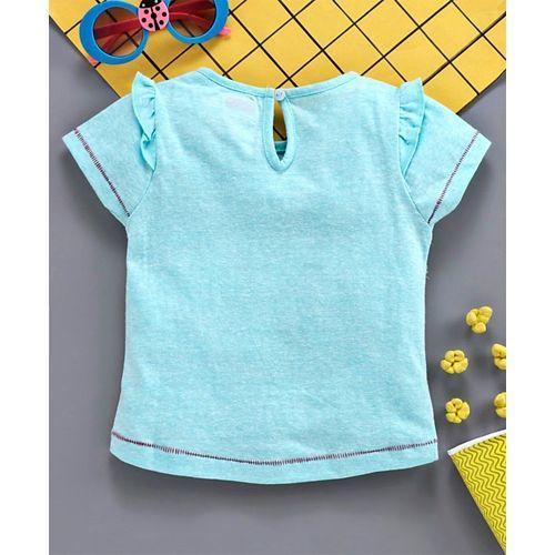 Babyhug Half Sleeves Tee Kitty Print - Light Blue