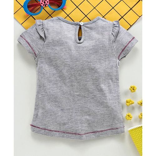 Babyhug Half Sleeves Tee Kitty Print - Grey