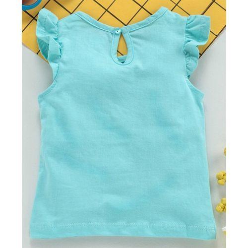 Babyhug Short Frilled Sleeves Tee Birds Print - Blue